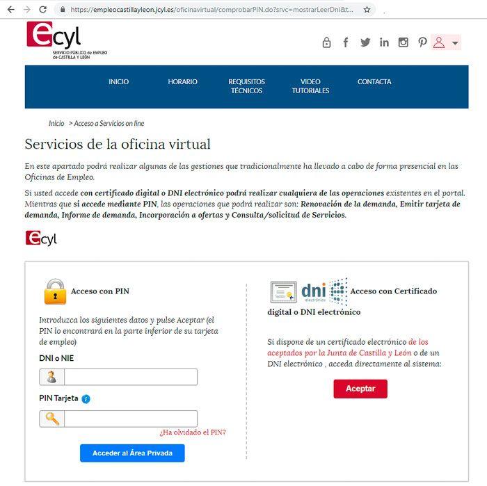 Página para sellar el paro por Internet en Castilla y León