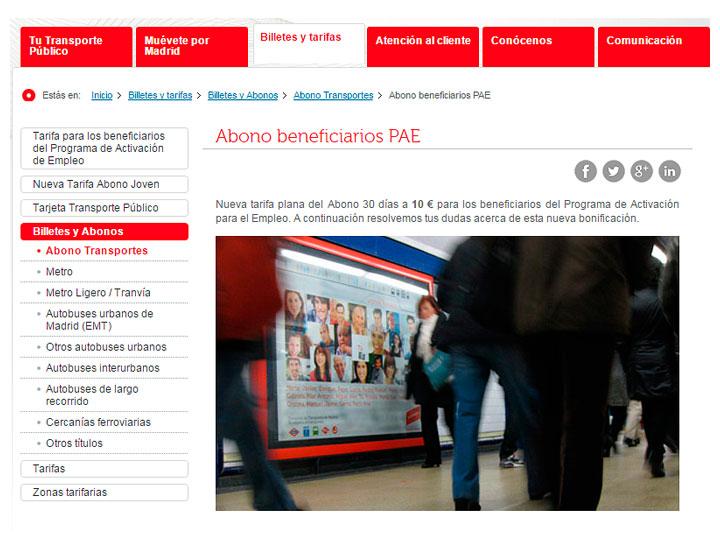 Abono transportes para desempleados del PAE en Madrid