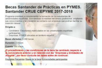 5.000 Becas Santander de prácticas en PYMES para universitarios