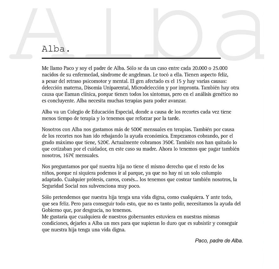 Nota del padre de Alba
