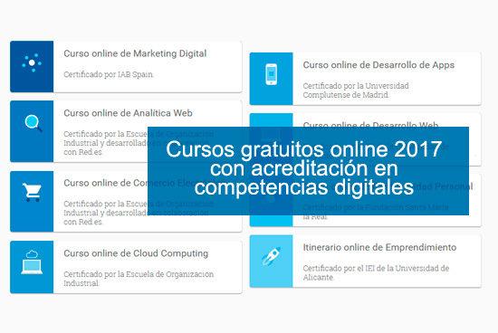 Cursos gratuitos 2017 en competencias digitales