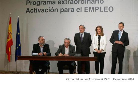 Firma del Acuerdo sobre el PAE en diciembre de 2014