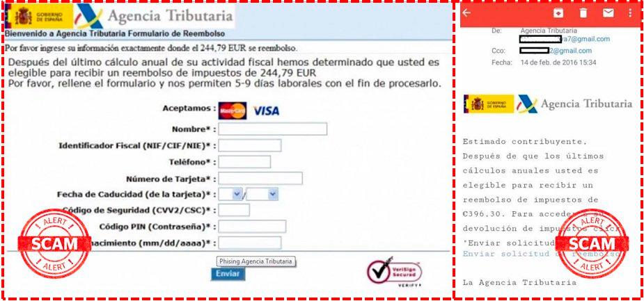 Falso email devoluciones Hacienda Renta