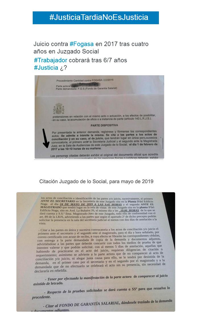 Ejemplos de demoras en los juzgados de lo social