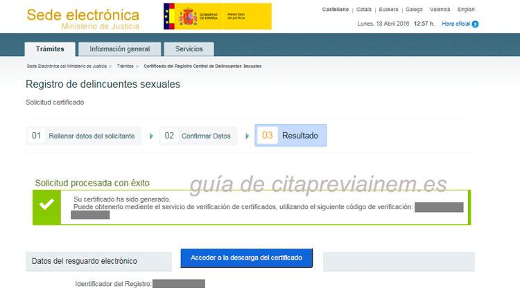 obtención del certificado de carecer de antecedentes por delitos sexuales