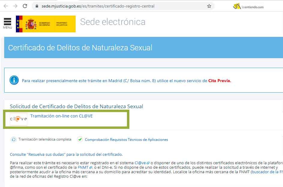 Paso 1 del certificado de delitos de naturaleza sexual