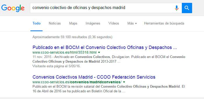 Cómo buscar un convenio colectivo en Google