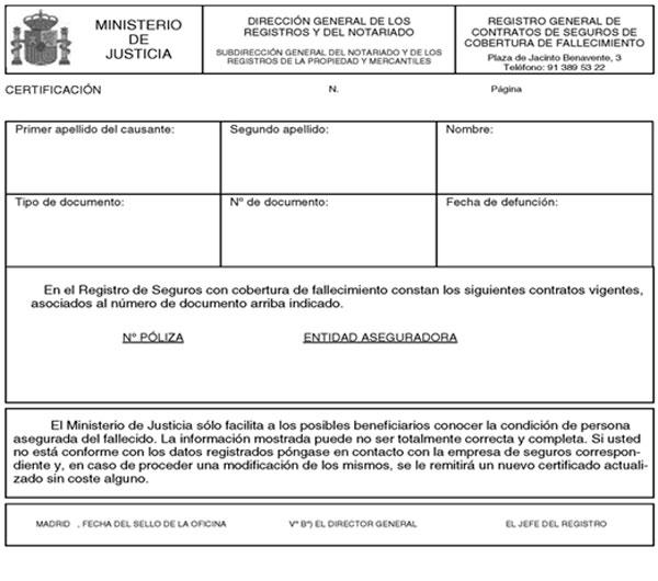 Ejemplo de certificado del registro de seguros de vida