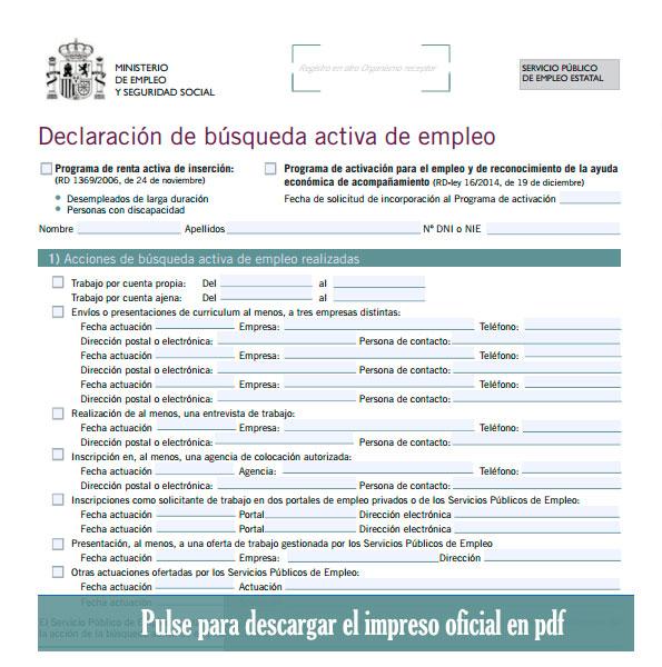 Descargar el impreso de búsqueda activa de empleo desde la web del SEPE