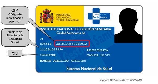 Tarjeta sanitaria y número de la Seguridad Social