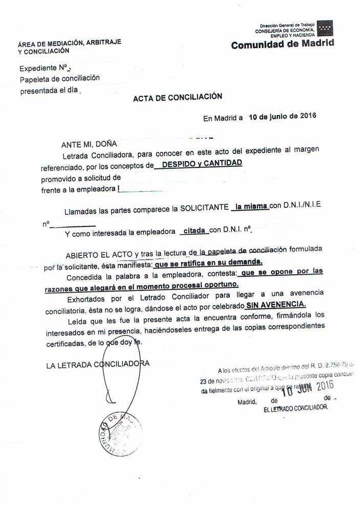 Acta de conciliación ante el SMAC sin avenencia