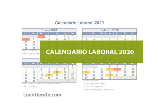 Calendario de días festivos y laborales nacionales y autonómicos 2020