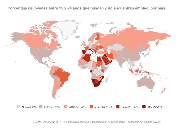 Las cifras de desempleo juvenil en todo el mundo