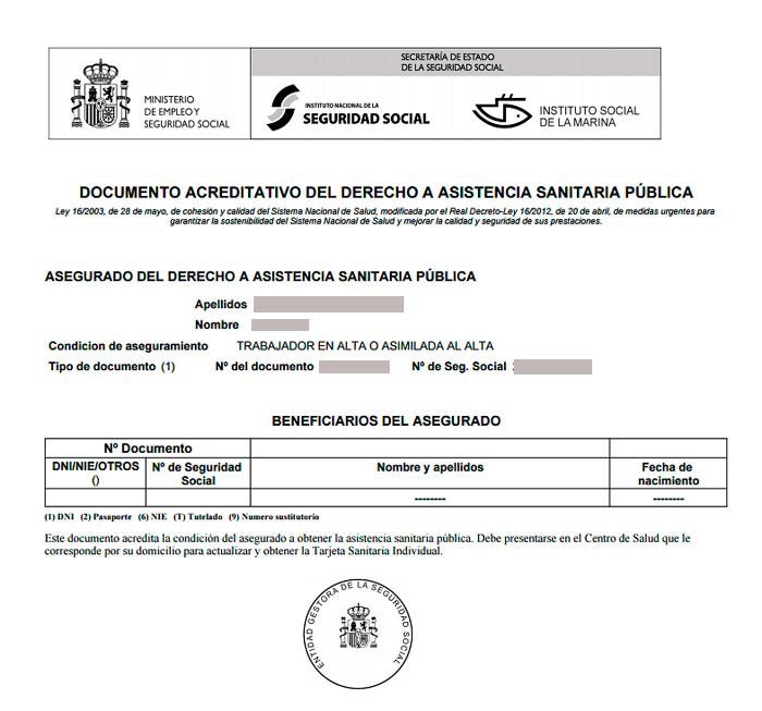 Ejemplo de un documento acreditativo de asistencia sanitaria