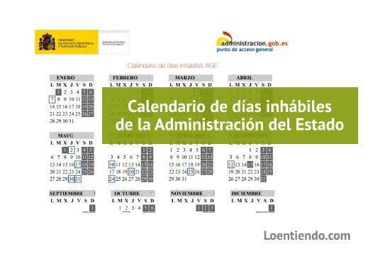Calendario días inhábiles de la Administración General del Estado