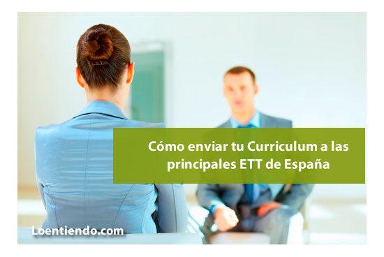Enviar Curriculum a las principales ETT