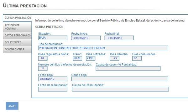 Consulta de datos del INEM SEPE