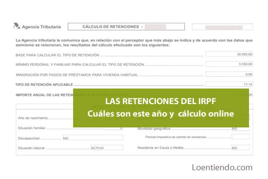 Las retenciones del IRPF. Tablas y cómo calcularlas online