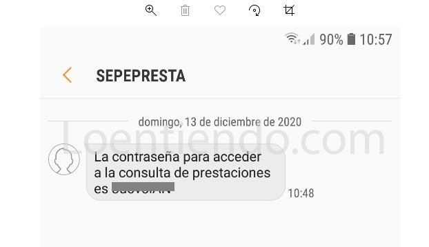 SMS recibido en el móvil SEPE