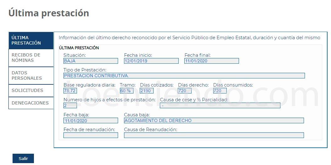 Ejemplo de información en el expediente online