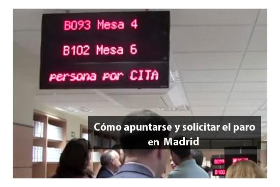 Apuntarse y solicitar el paro en Madrid