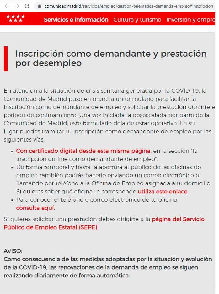 Aviso inscripción demandante de empleo