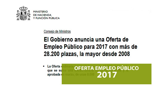 Información sobre la oferta de empleo publico 2017