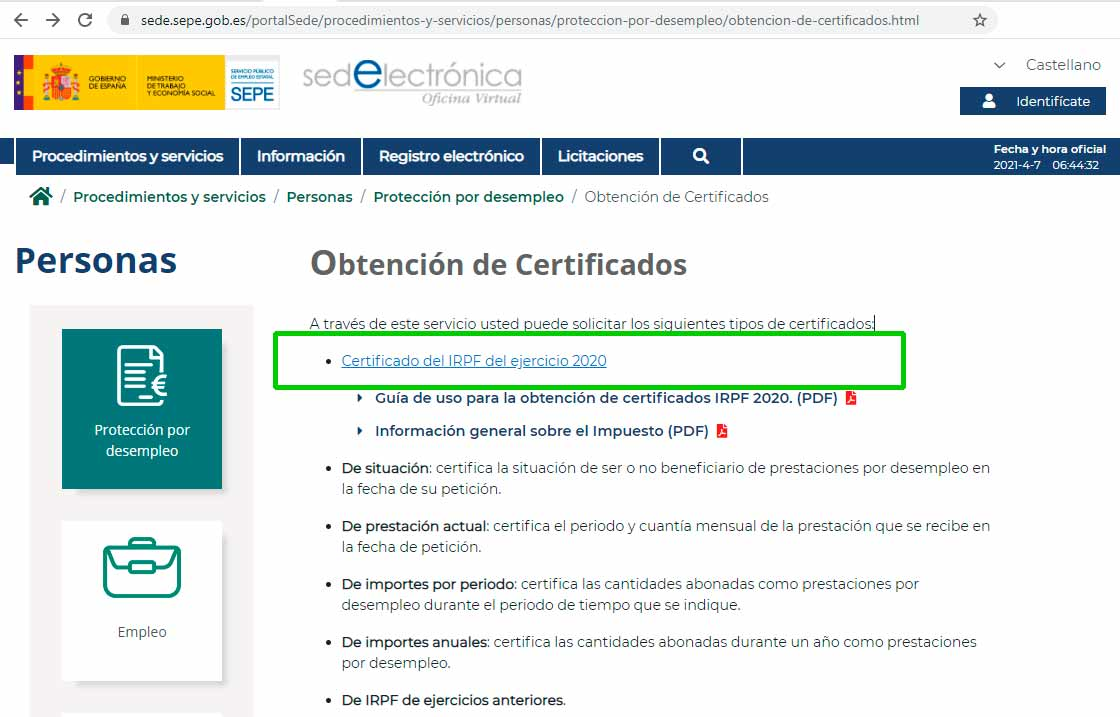 Paso 1 obtener certificado irpf sepe