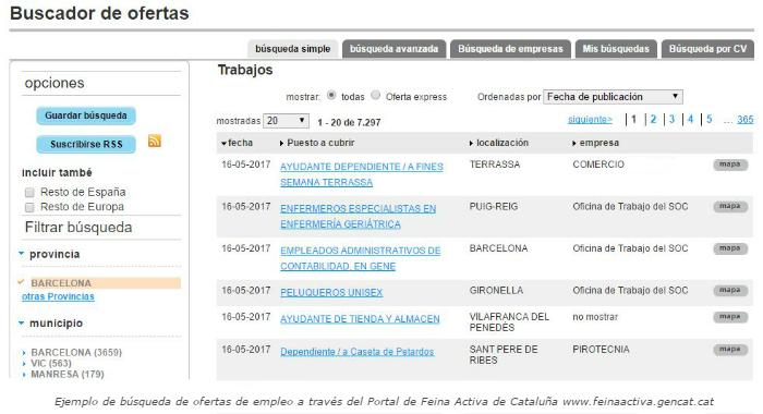 Buscador de ofertas de empleo Cataluña