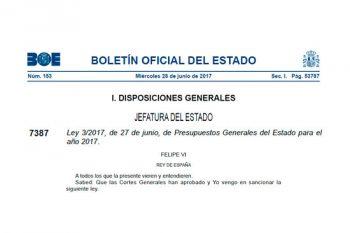 Aprobados los Presupuestos Generales del Estado de 2017