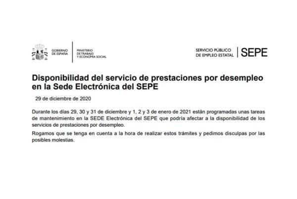 El SEPE anuncia seis días de tareas de mantenimiento en su página web