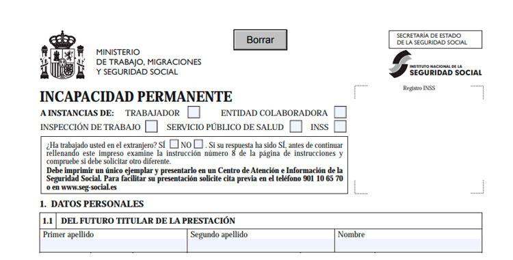 Formulario de solicitud de Incapacidad Permanente