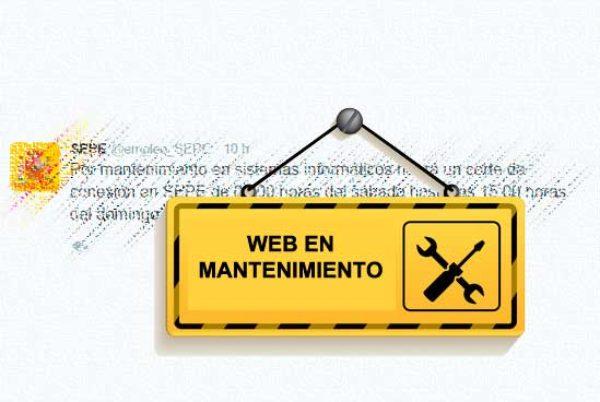 El SEPE realiza tareas de mantenimiento en su página web