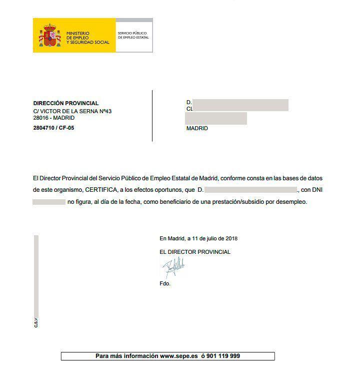 Certificado de no recibir paro