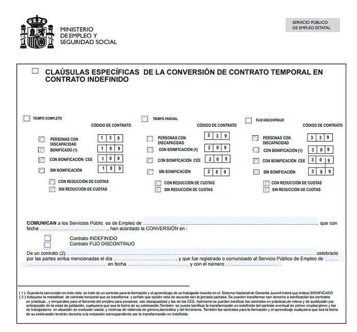 Paso de contrato temporal a fijo se entrega finiquito for Modelo contrato indefinido