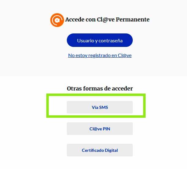 Identificación via SMS