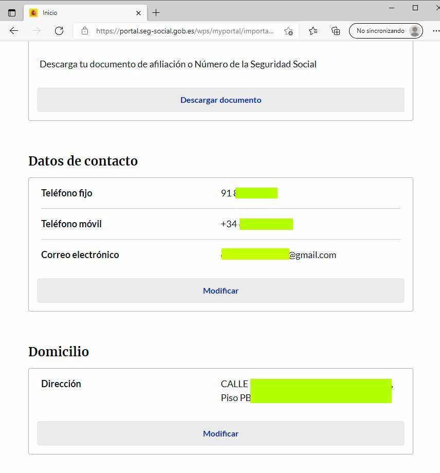 Modificación de datos personales con acceso por SMS