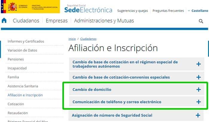 Modificar datos de la Seguridad Social desde la sede electrónica