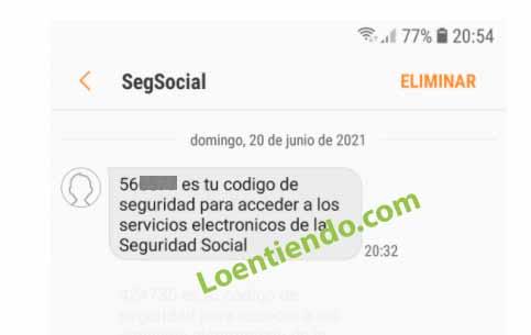 SMS con clave de acceso