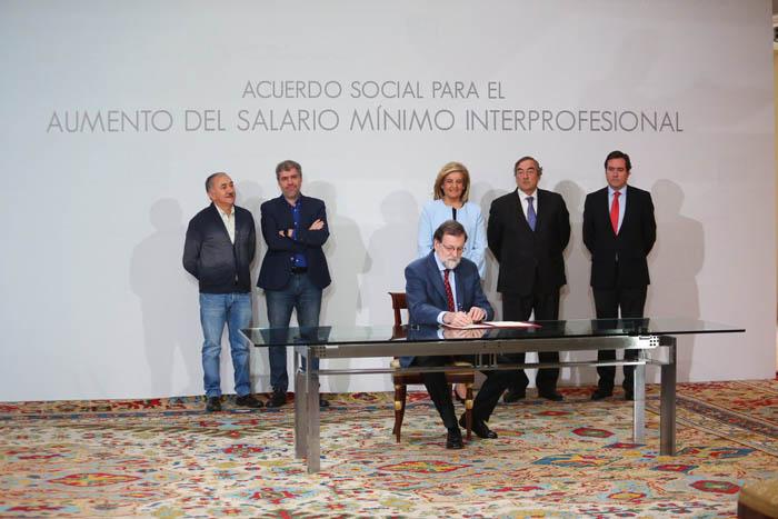 Acuerdo para la subida del SMI entre 2018 y 2020