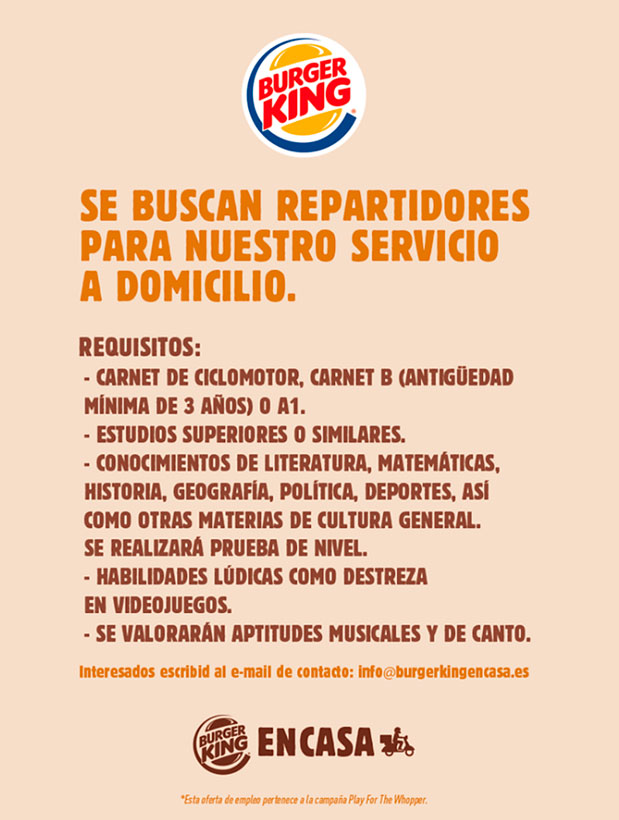 Falsa oferta de empleo de burger king