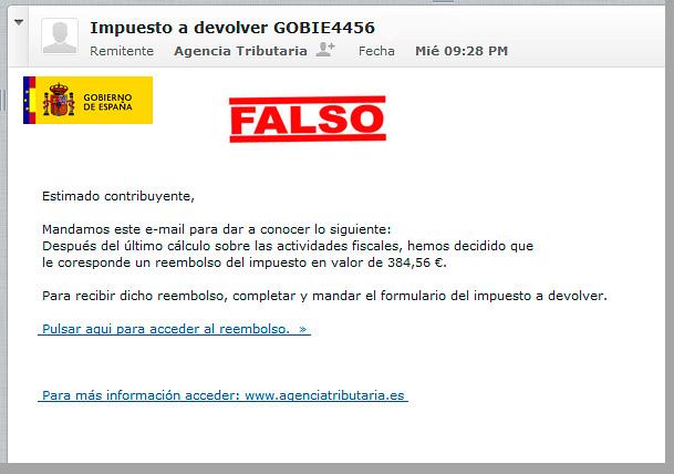 Email falso de la Agencia Tributaria