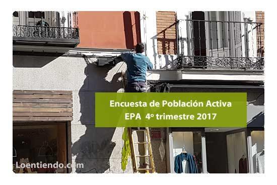 Datos paro EPA cuarto trimestre 2017