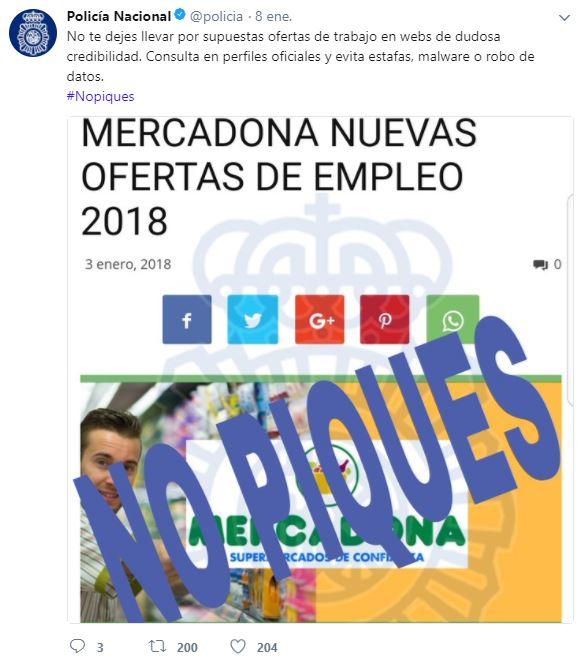 La polic a nacional alerta de una oferta de empleo falsa for Trabajar en oficinas de mercadona
