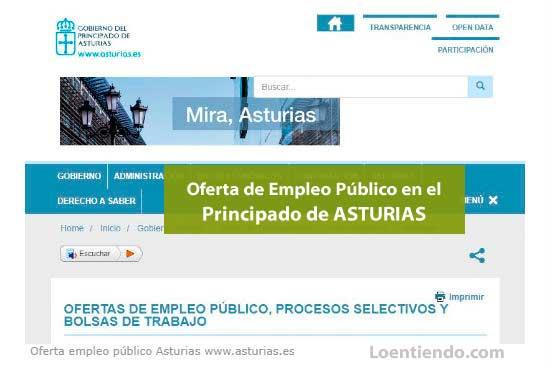 Oferta de Empleo Público en Asturias