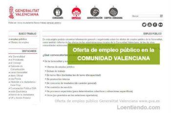 Oferta de Empleo Público en la Comunidad Valenciana