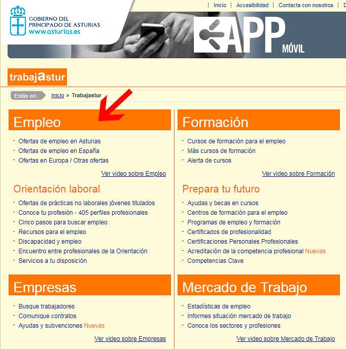 Sección de Empleo en Trabajastur