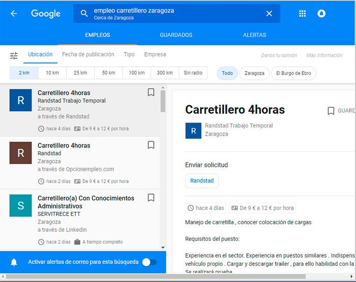 Google empleos ejemplo