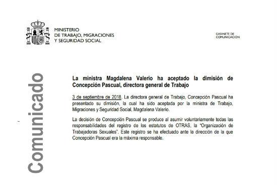 dimision directora general de trabajo