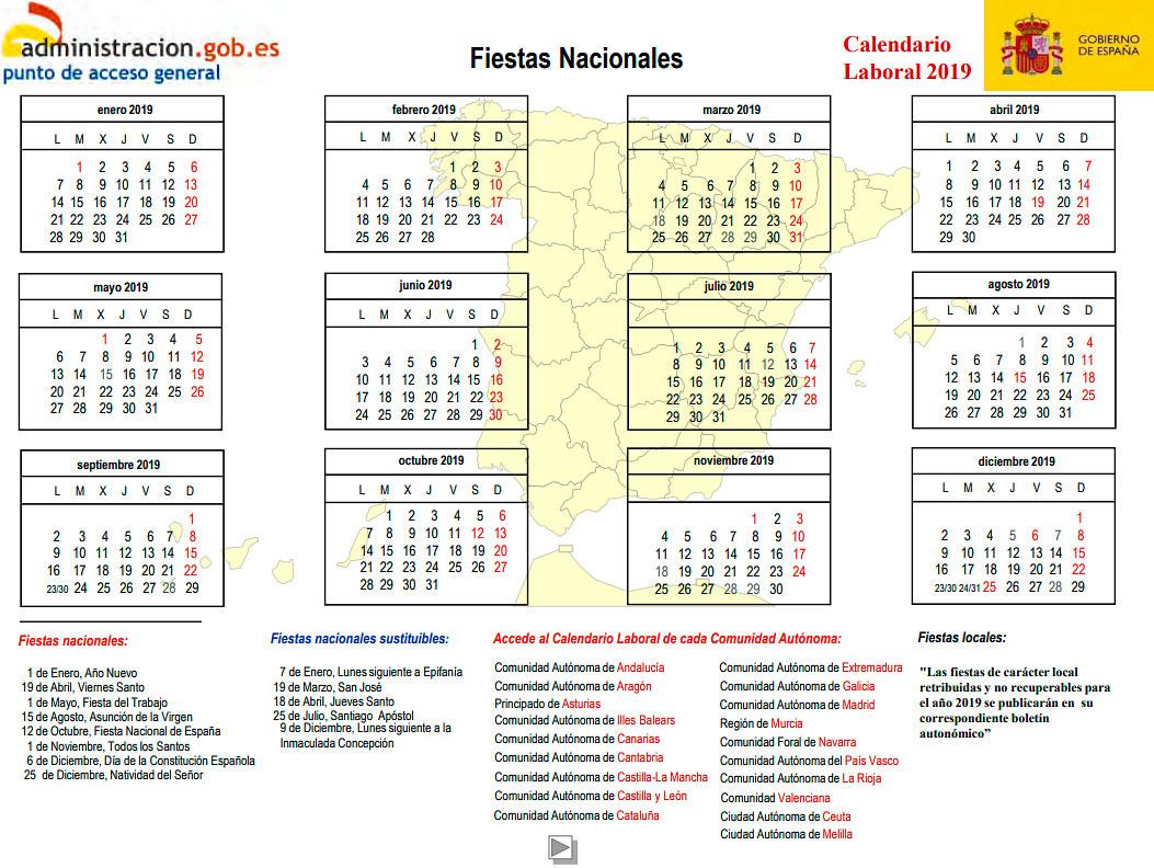 Calendario laboral 2019 españa